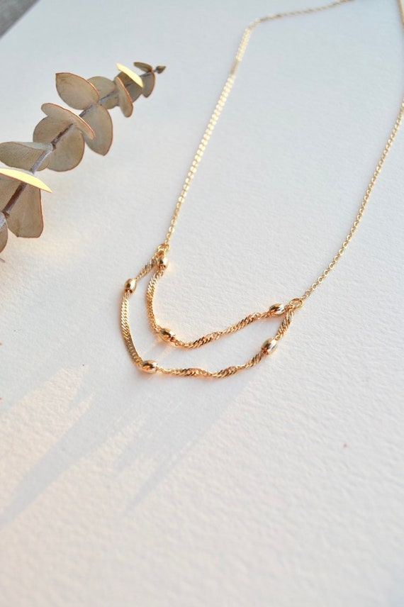 Odessa - dainty chain necklace, gold or silver tone necklace