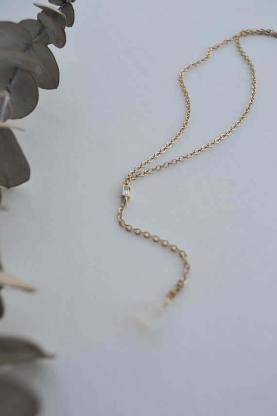 Theia - lariat necklace, gold palted, minimalist, crystal, dainty, simple