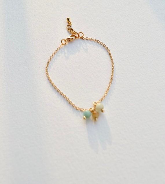 Eloise - minimalist gold chain bracelet and amazonite beads, wedding, gift