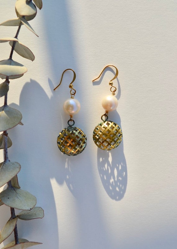 Anastasia - patina brass and pearl earring - everyday elegant boho gift