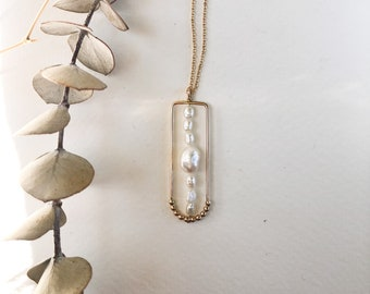 Mila - gold filled or sterling silver delicate chain and freshwater pearl necklace