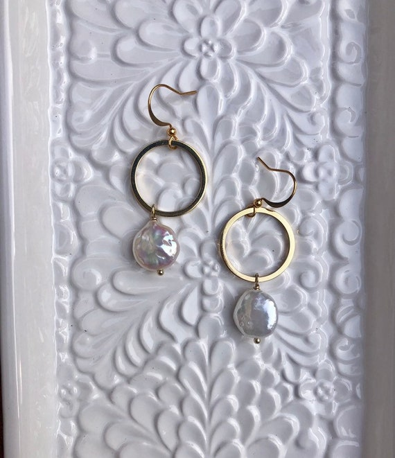 Bianca- gold filled or sterling hammered hoop with white coin pearl dangle dainty earring