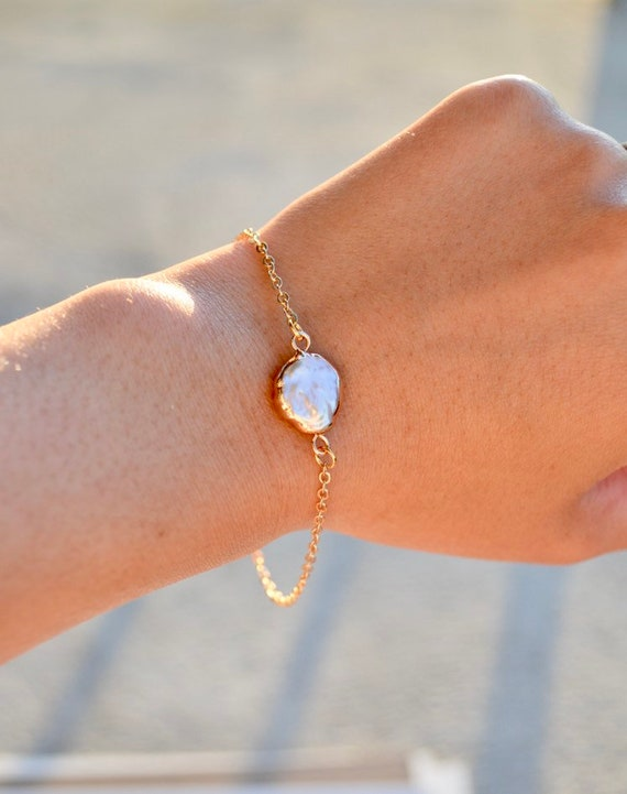 Nora - gold plated white coin pearl minimalist bracelet - wedding, gift, everyday