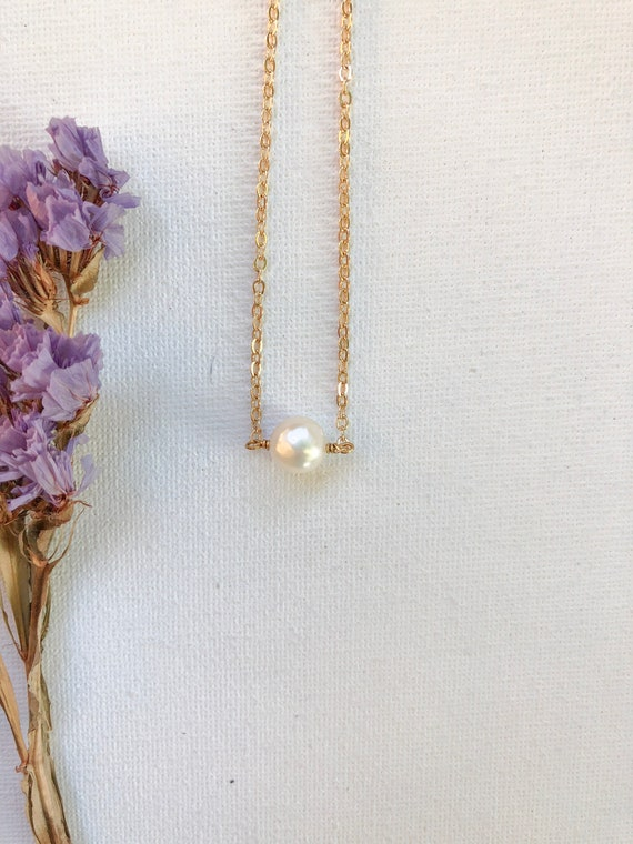Gweneth - gold plated chain, simple pearl minimalist necklace - wedding, gift