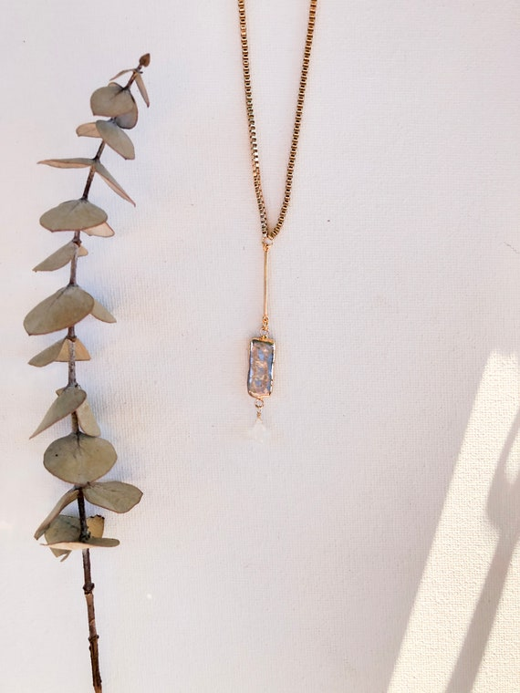 Celeste - boxy gold plated chain, grey cultured pearl and moonstone - wedding, gift