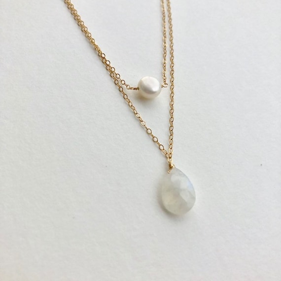 Barrett - double layered goldfilled dainty chain necklace with freshwater pearl and moonstone drop