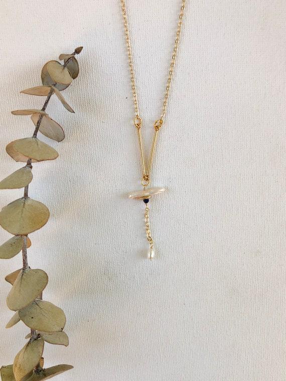 Corrine - gold plated chain, Biwa pearl minimalist necklace - wedding, gift