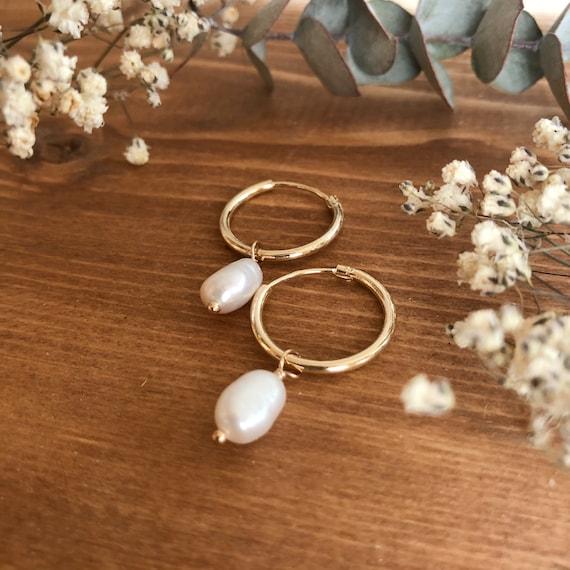 Somerset - dainty pearl hoop gold filled earrings- everyday wear