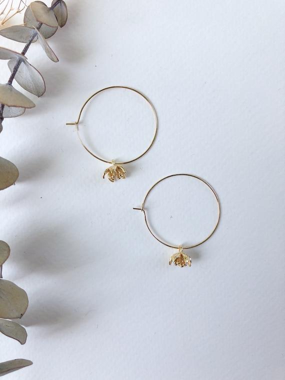 Nadine - gold plated floral hoop earrings