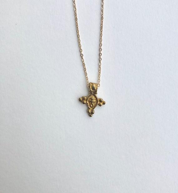 Jasmine - dainty chain necklace with ornate tribal brass pendant
