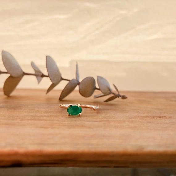 Briar- goldfilled open ring with green onyx stone