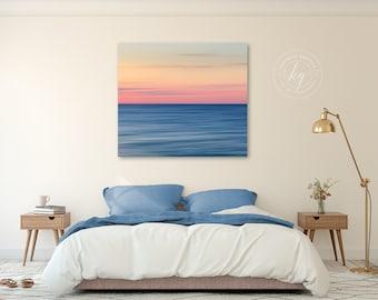 Large Canvas Abstract Art, Coastal Wall Print, Modern Art, Cape Cod Photograph, Square Canvas Artwork, Oversize Beach Art, Orange Blue Pink