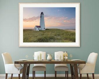 Nantucket Lighthouse Photography, Great Point Lighthouse Sunset Photo, Large Wall Art, Cape Cod Island Photograph, Coastal Dunes Ocean Print