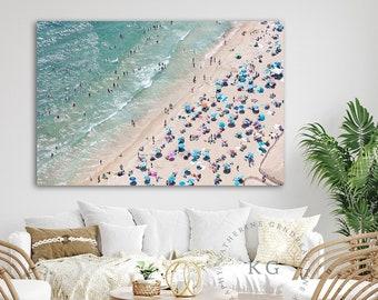 Aerial Beach Photography Canvas Print, Colorful Beach Umbrellas Art, Narragansett RI, Small, Medium, Large Size, Sunbathers Towels Swimmers