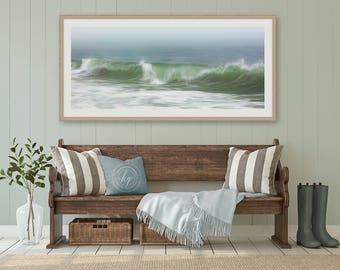 Framed Abstract Ocean Art, Panoramic Seascape Photo, Nautical Wall Decor, Nantucket Beach Art, Ocean Storm Waves Print, Fog Surf Photography