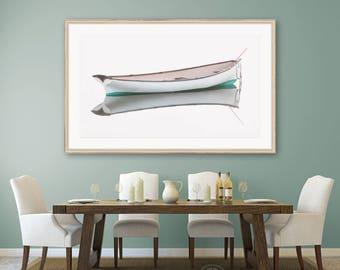 Framed Panoramic Boat Print, White Rowboat Photography, Coastal Nautical Wall Art, Large Framed Art, Cape Ann Art, High Key, Neutral Artwork
