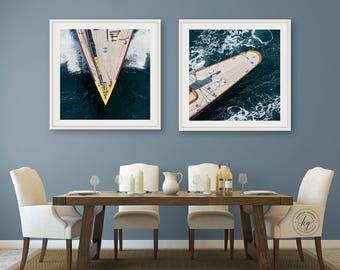 Sailboat Photography, Set of 2 Square Wooden Boat Prints, J Class Yacht Bow and Stern, Sailboat Photos, Nautical Wall Decor, Newport RI Art