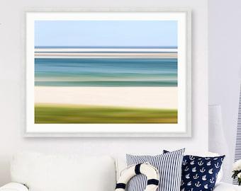 Abstract Framed Beach Art, Large Chatham MA Cape Cod Photo, Chatham Bars Print, Custom Size Coastal Living Room Wall Art Blue Green Beige
