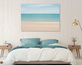 Beach Decor, Canvas Gallery Wrap, Abstract Ocean Photo, Large Wall Art, Caribbean Sea, Living Room Bedroom Artwork, Blue Teal Beige White