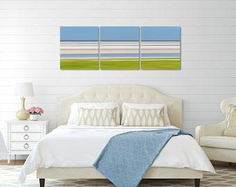 Canvas Art 3 Three Panel Triptych Nautical Decor Abstract Beach Artwork Large Art Cape Cod Photography Skaket Beach Photo Blue Green Beige