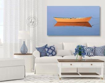 Nautical Canvas Wall Art, Maritime Photography, Fishing Rowing Dory Photo, Yellow Boat Print, Panoramic Coastal Artwork, Upscale Ocean Decor