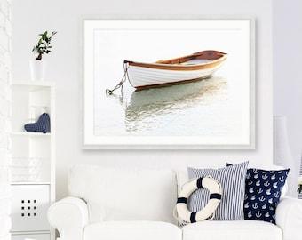 Framed Rowboat Print, Multiple Sizes, White Wooden Boat Photo, Unique Nautical Decor, Martha's Vineyard Coastal Photography, Boating Art