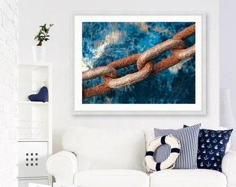 Framed Nautical Wall Art, Teal Blue Green Fishing Boat, Rusty Chain Mooring Picture, Menemsha Harbor, Martha's Vineyard, Framed Cape Cod Art