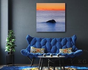 Ocean Sunset Canvas Gallery Wrap, Westport Mass Coastal Beach Photography, Square Abstract Beach Art, Modern Minimalist Photo, Orange Blue