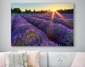 Metal Wall Art, Rustic Farm Wall Decor, Lavender Field Sunset Photo, Metal Print, Farm Photography, Sequim Washington Artwork, Purple Orange