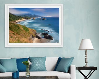 Large Aerial Beach Photography, Cannon Beach Picture, Ecola Park, Oregon Coast, Ocean Photo Print, Pacific Northwest Art, Teal Blue Green