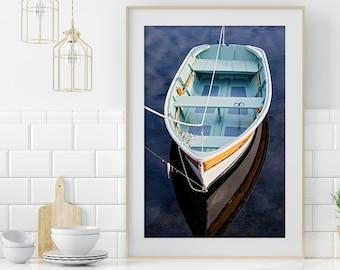 Navy Blue Vertical Nautical Wall Decor, Aqua Rowboat Photography, Wooden Skiff Photograph, Extra Large Art, Coastal Decor, Lake House Art