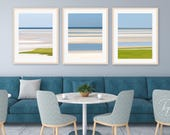 Beach Photo Set, Abstract Seascape Print Set, Three 3 Photographs Cape Cod Photography Nautical Wall Art Blue Beige Lime Green Coastal Decor