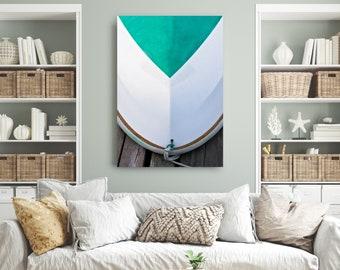 Large Vertical Canvas Art, Coastal Wall Art, White Teal Rowboat Hull Photo Canvas, Nautical Beach Photography, Sakonnet RI, Lake Home Decor