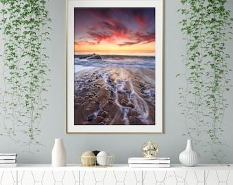 Rocky Beach Sunset Fine Art Photography Print, Westport Massachusetts Coast Photograph Large Vertical Seascape Art Gooseberry Island Picture
