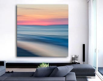 Abstract Art, Large Canvas Wall Art, Beach Photography, Nautical Decor, Cape Cod Photo, Seascape Picture Provincetown Photo Blue Orange Aqua