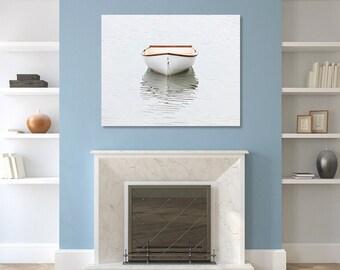 Large Boat Photography, Rowboat Canvas Wall Art, Nautical Beach Decor, Cape Cod Photo Coastal Print Oversized Artwork Ivory White Grey Beige
