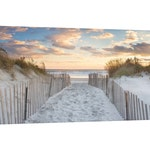 Large Canvas Beach Wall Decor, Coastal Print, Dunes Photography, Beach Path Sunset Art, Newport RI Rhode Island Photograph, Blue Beige Peach