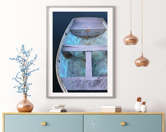 Large Boat Print, Nautical Photography, Vertical Rowboat Photo, Entry Wall Art, Oversized Nautical Wall Decor, Living Room, Bedroom Bathroom