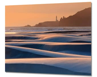 Metal Wall Art Yaquina Head Lighthouse Newport Oregon Pacific Ocean Sunset Seascape Metal Print Beach Photography Large Wall Art Blue Orange
