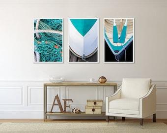 Set of Three 3 Nautical Photo Prints, Art Gift Set, Boat Photography Oars Rope Rowboat Pictures Nautical Decor Beach Art Teal Aqua White
