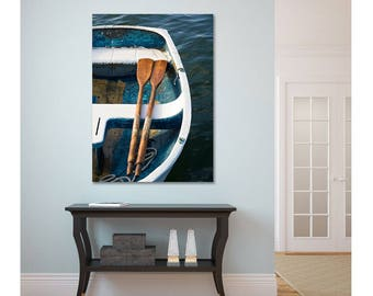 Teal Rowboat Canvas Wall Art, Vertical Boat Photo, Nautical Decor, Large Canvas Print, Boat Oars Rope Picture, Photo on Canvas, Oversize Art