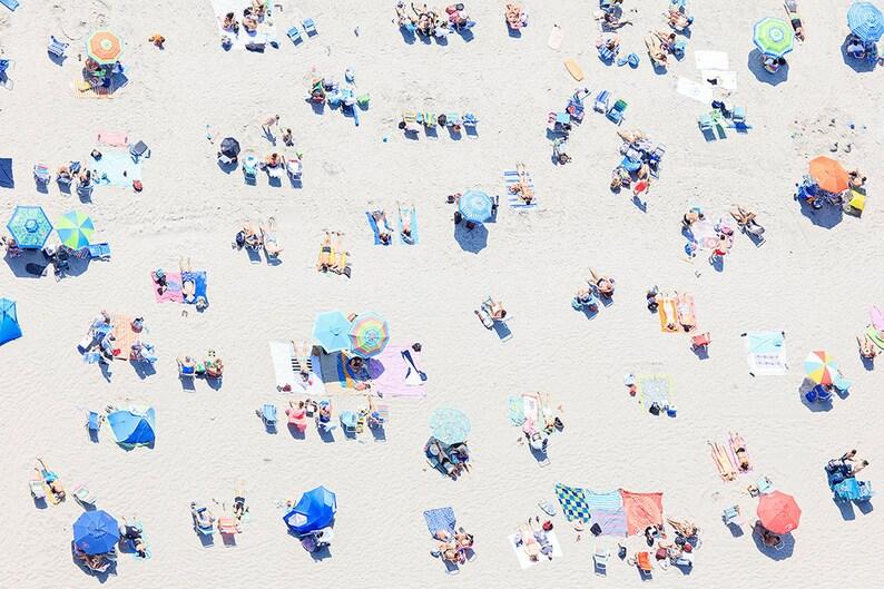 Sunbathers Sand Photo Large Beach Metal Wall Art Newport RI Art Middletown RI Picture Beach Umbrellas Metal Print Aerial Beach Photography