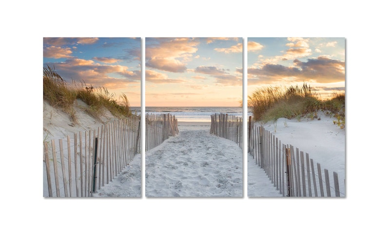 Large Beach Art 3 Three Panel Triptych Canvas Wall Art Beach image 0