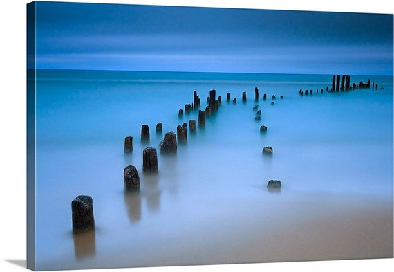 LARGE SEASCAPE CANVAS PICTURE PIER ON SEA BLUE GREEN A1