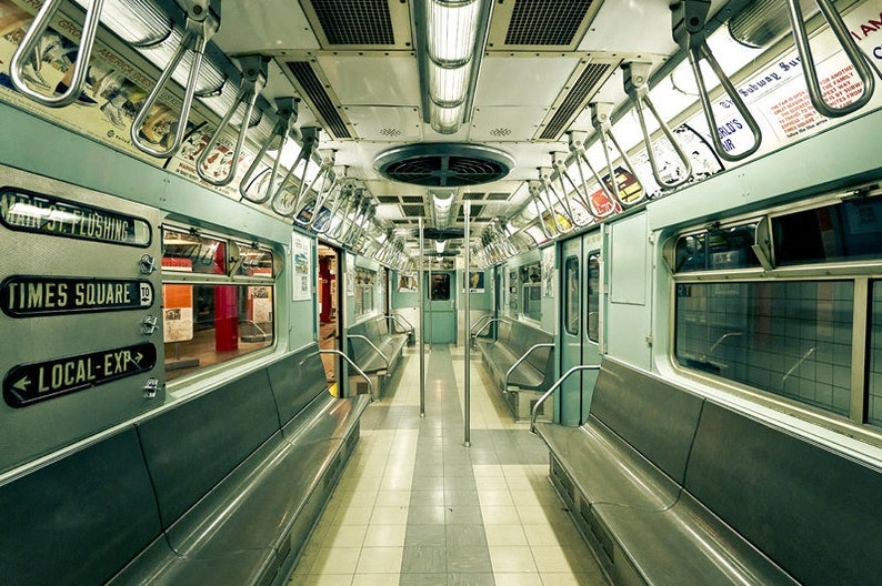 Train Photograph NYC Photography Large New York City Wall Art Mint Green Vintage Retro Artwork NYC Subway Picture 30x45 Photo Print