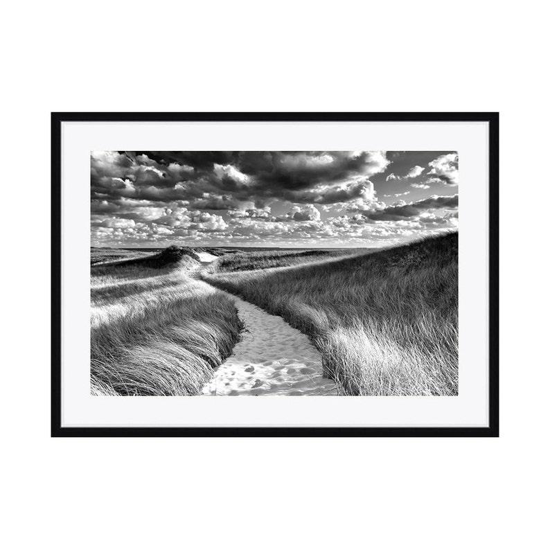 Cape Cod Artwork Nautical Decor Dunes Grass Coastal Landscape Black and White Photography Beach Path Photo Martha/'s Vineyard Framed Art