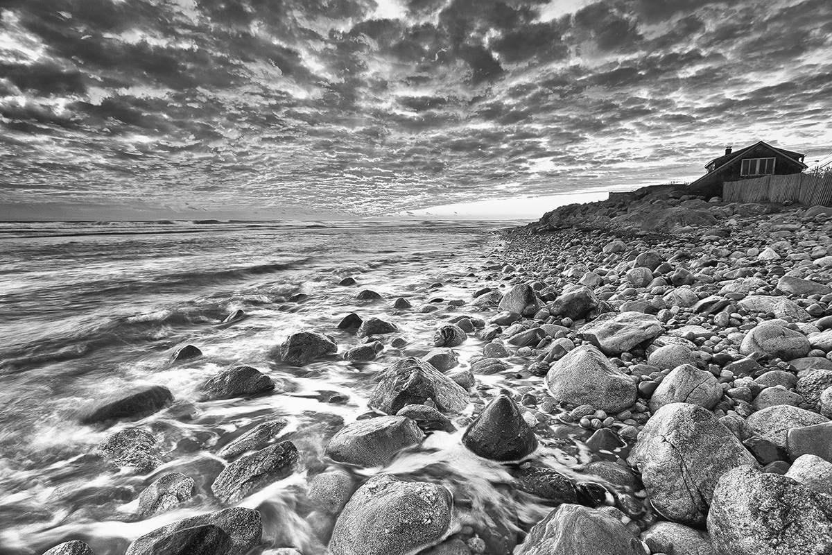 Black and white beach photography seascape photo rhode island picture ocean rocks photograph large black white print oversized sea art
