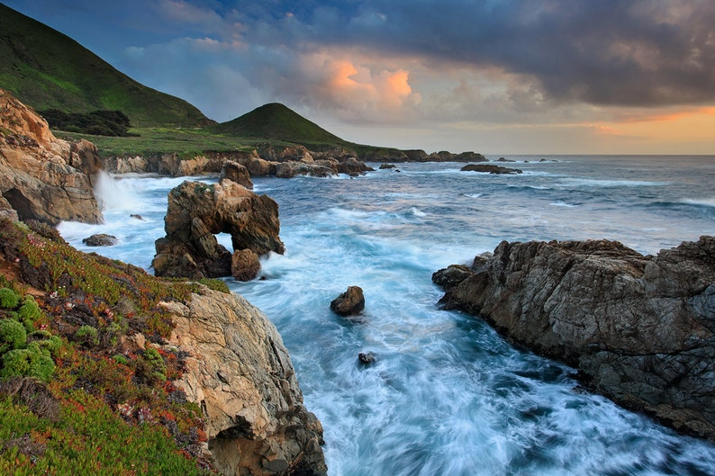 Seascape Picture of Sunset at Big Sur Coast California Photography Art Print