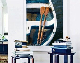 Nautical Wall Decor, Large Boat Photograph, Vertical Rowboat Oars Photo, Teal Dory Print, Beach Artwork, Coastal Decor, Teal Navy Blue White