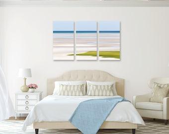 Coastal Wall Decor, 3 Three Panel Triptych, 5 Piece Canvas, Large Wall Art Abstract Skaket Beach Artwork Seascape Photo Cape Cod Photography